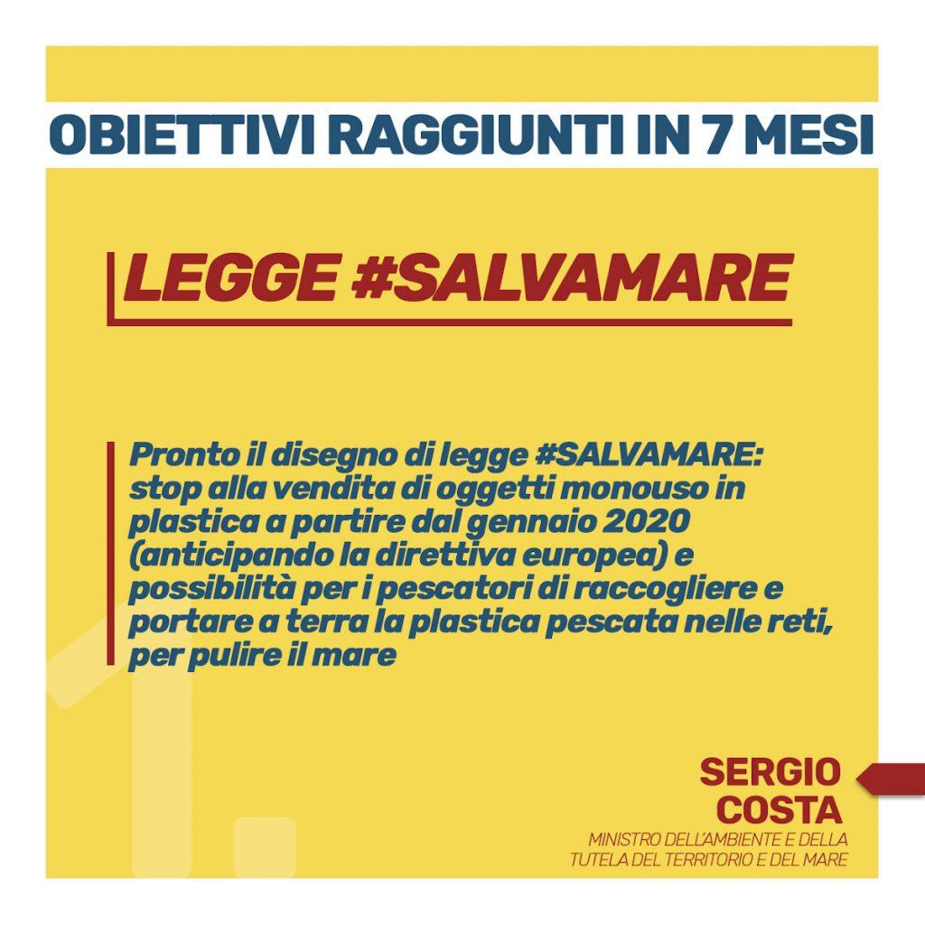 obiettivi raggiunti in 7 mesi Legge #salvamare