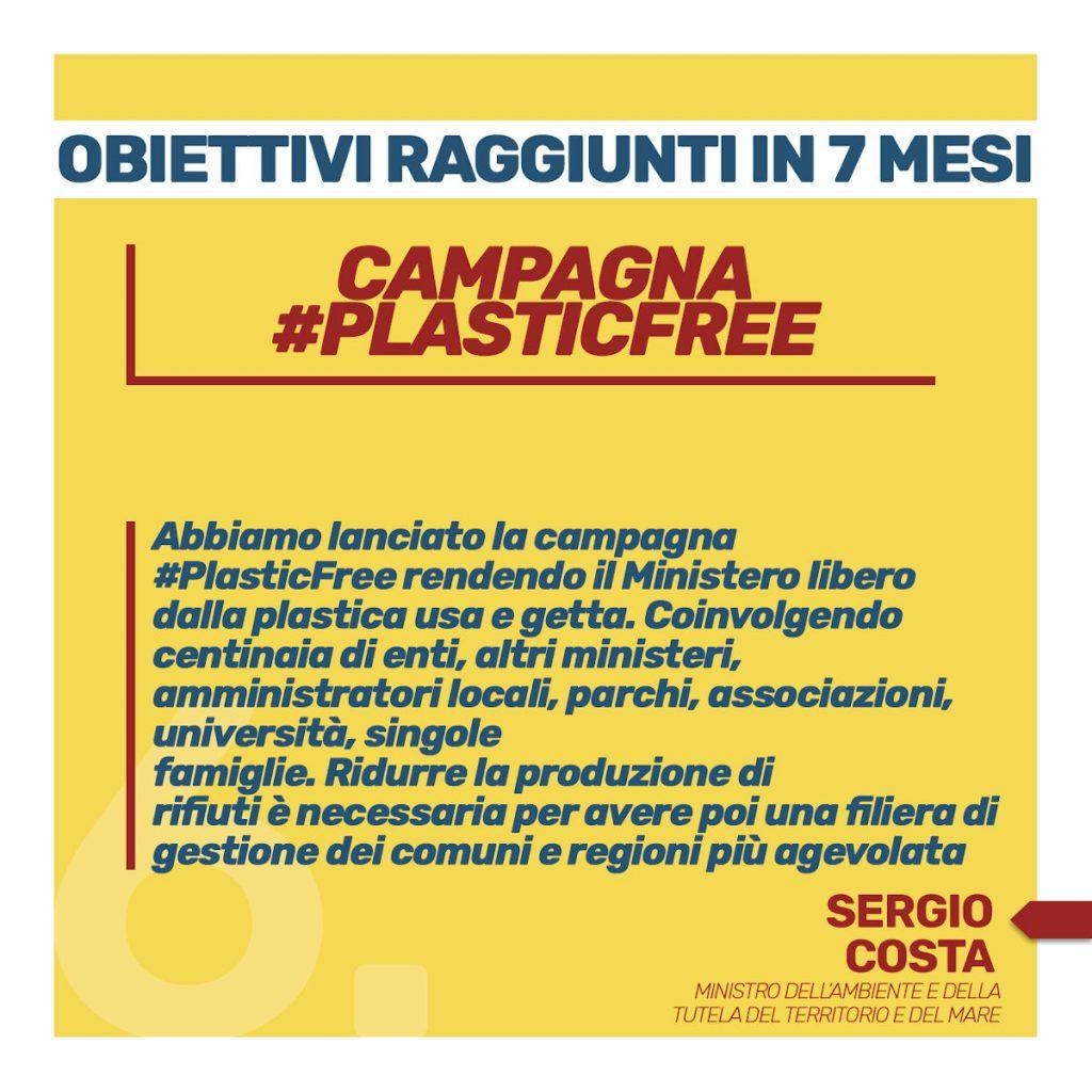 obiettivi raggiunti in 7 mesi campagna #plsticfree