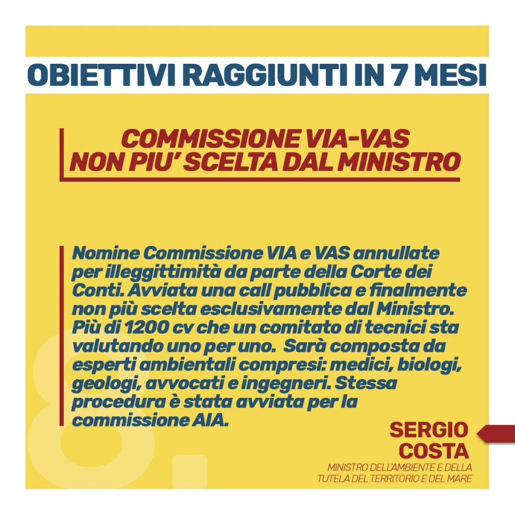 obiettivi raggiunti in sette mesi Commissione Via Vas