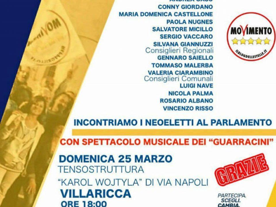 Locandina evento festa Vilarrica M5S 24 marzo 2018
